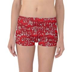 Glossy Abstract Red Boyleg Bikini Bottoms