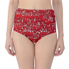 Glossy Abstract Red High-Waist Bikini Bottoms
