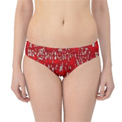 Glossy Abstract Red Hipster Bikini Bottoms