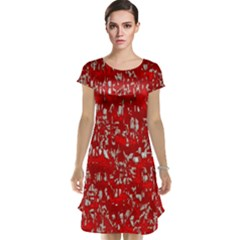Glossy Abstract Red Cap Sleeve Nightdress