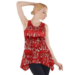 Glossy Abstract Red Side Drop Tank Tunic