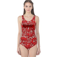 Glossy Abstract Red One Piece Swimsuit