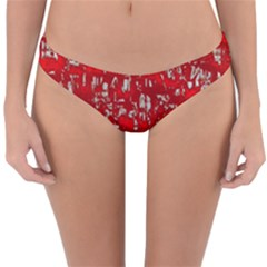 Glossy Abstract Red Reversible Hipster Bikini Bottoms