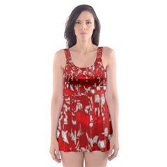 Glossy Abstract Red Skater Dress Swimsuit