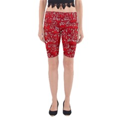 Glossy Abstract Red Yoga Cropped Leggings