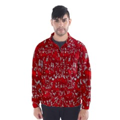 Glossy Abstract Red Wind Breaker (Men)