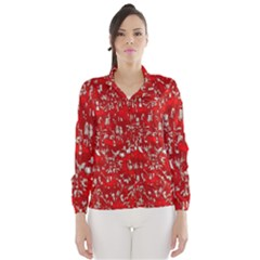 Glossy Abstract Red Wind Breaker (Women)