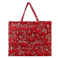 Glossy Abstract Red Zipper Large Tote Bag