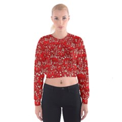 Glossy Abstract Red Cropped Sweatshirt