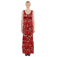 Glossy Abstract Red Maxi Thigh Split Dress