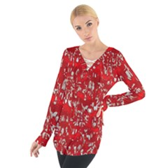 Glossy Abstract Red Women s Tie Up Tee