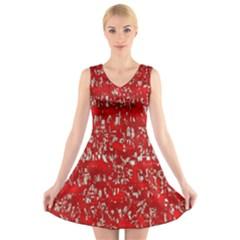 Glossy Abstract Red V-Neck Sleeveless Skater Dress