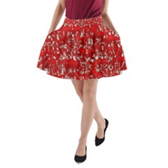 Glossy Abstract Red A-Line Pocket Skirt