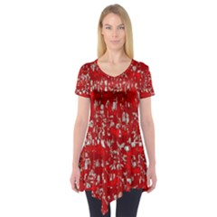 Glossy Abstract Red Short Sleeve Tunic