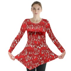 Glossy Abstract Red Long Sleeve Tunic