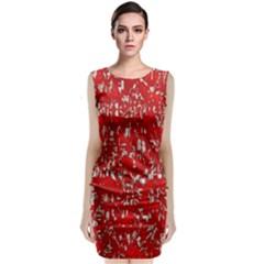 Glossy Abstract Red Classic Sleeveless Midi Dress