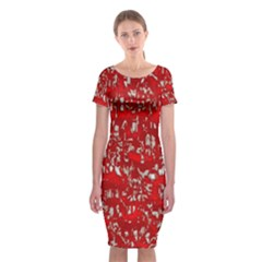 Glossy Abstract Red Classic Short Sleeve Midi Dress