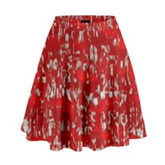 Glossy Abstract Red High Waist Skirt