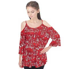 Glossy Abstract Red Flutter Tees