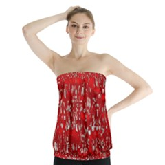 Glossy Abstract Red Strapless Top