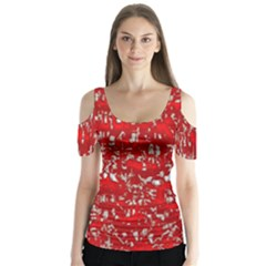 Glossy Abstract Red Butterfly Sleeve Cutout Tee