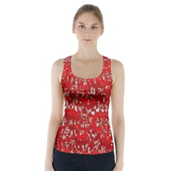 Glossy Abstract Red Racer Back Sports Top