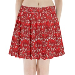 Glossy Abstract Red Pleated Mini Skirt