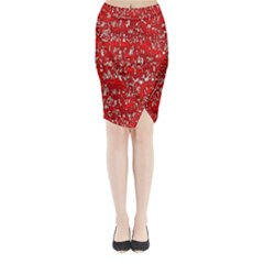 Glossy Abstract Red Midi Wrap Pencil Skirt