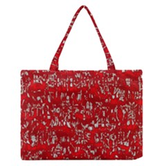 Glossy Abstract Red Medium Zipper Tote Bag