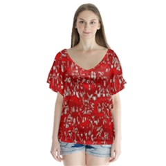 Glossy Abstract Red Flutter Sleeve Top