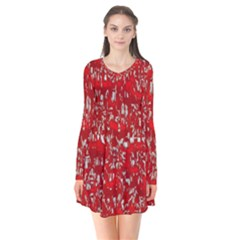 Glossy Abstract Red Flare Dress