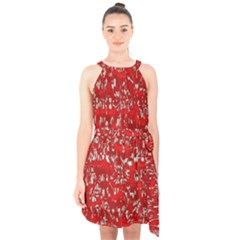 Glossy Abstract Red Halter Collar Waist Tie Chiffon Dress