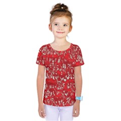 Glossy Abstract Red Kids  One Piece Tee