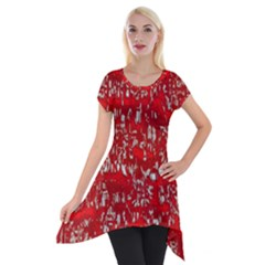 Glossy Abstract Red Short Sleeve Side Drop Tunic