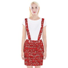 Glossy Abstract Red Braces Suspender Skirt