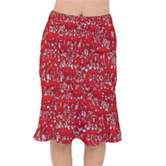 Glossy Abstract Red Mermaid Skirt