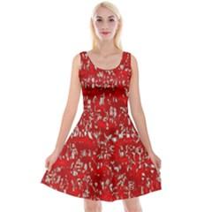 Glossy Abstract Red Reversible Velvet Sleeveless Dress