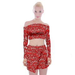 Glossy Abstract Red Off Shoulder Top with Skirt Set