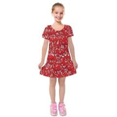 Glossy Abstract Red Kids  Short Sleeve Velvet Dress