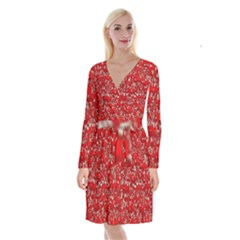 Glossy Abstract Red Long Sleeve Velvet Front Wrap Dress