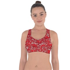 Glossy Abstract Red Cross String Back Sports Bra