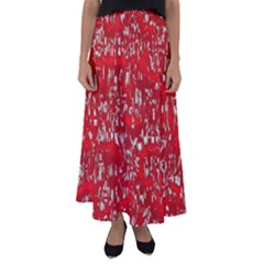 Glossy Abstract Red Flared Maxi Skirt