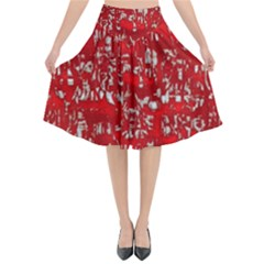 Glossy Abstract Red Flared Midi Skirt