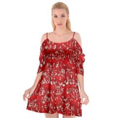 Glossy Abstract Red Cutout Spaghetti Strap Chiffon Dress