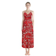 Glossy Abstract Red Button Up Chiffon Maxi Dress
