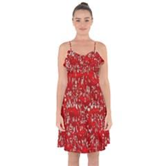 Glossy Abstract Red Ruffle Detail Chiffon Dress