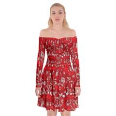 Glossy Abstract Red Off Shoulder Skater Dress