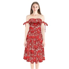 Glossy Abstract Red Shoulder Tie Bardot Midi Dress