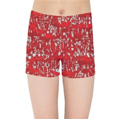Glossy Abstract Red Kids Sports Shorts