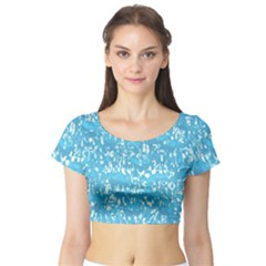 Glossy Abstract Ocean Short Sleeve Crop Top (Tight Fit)